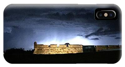 IPhone Case featuring the photograph Lightening At Castillo De San Marco by LeeAnn Kendall