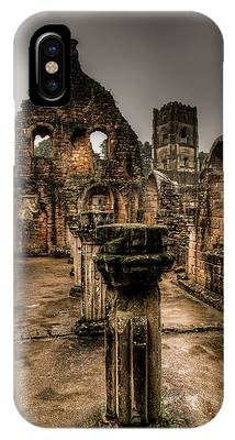 IPhone Case featuring the photograph Fountains Abbey In Pouring Rain by Dennis Dame