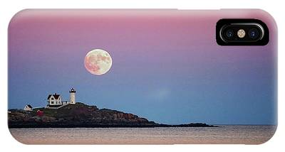 Full Moon Rising At Nubble Light IPhone Case