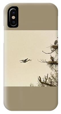 Great Blue Heron Nest Building IPhone Case