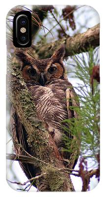 IPhone Case featuring the pyrography Great Horned Owl by Sally Sperry