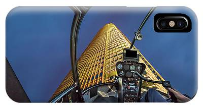 IPhone Case featuring the photograph Helicopter On Skyscaper Facade by Benny Marty