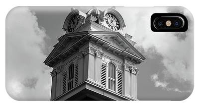 Historic Courthouse Steeple In Bw IPhone Case