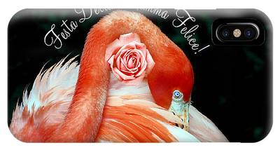 IPhone Case featuring the photograph Italian Happy Mothers Day Flamingo by Donna Proctor