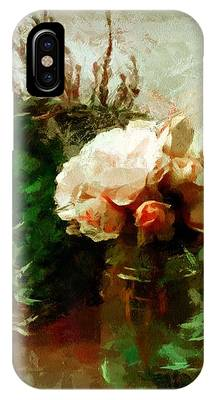 IPhone Case featuring the mixed media Jar Of Roses With Lavender by Patricia Strand
