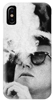 John F Kennedy Cigar And Sunglasses Black And White IPhone Case