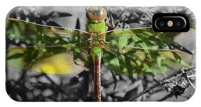 IPhone Case featuring the pyrography Juvenile Green Darner by Sally Sperry