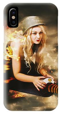 Kamakazi Pin-up Girl On Atomic Bomb IPhone Case by Jorgo Photography - Wall Art Gallery