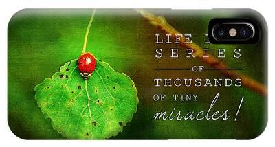 Ladybug On Leaf Thousand Miracles Quote IPhone Case