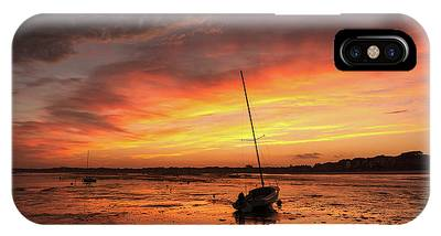 IPhone Case featuring the photograph Low Tide Sunset Sailboats by Brad Wenskoski