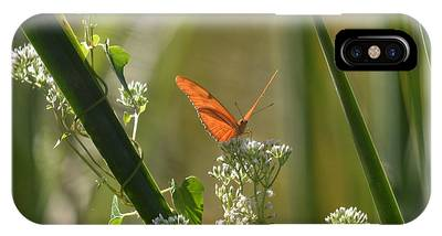 IPhone Case featuring the pyrography Male Julia Heliconia Butterfly by Sally Sperry