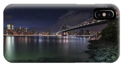 Manhattan Bridge Twinkles At Night IPhone Case