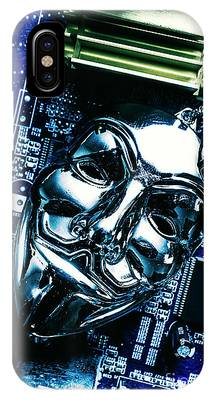 IPhone Case featuring the photograph Metal Anonymous Mask On Motherboard by Jorgo Photography - Wall Art Gallery