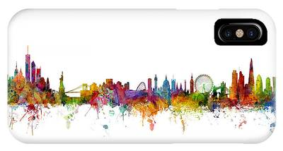 New York And London Skyline Mashup IPhone Case