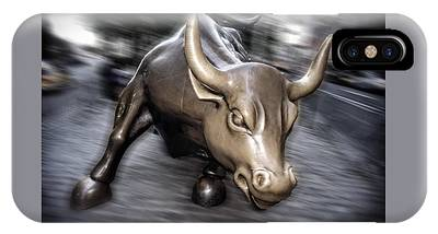 IPhone Case featuring the photograph New York Bull Of Wall Street by Juergen Held
