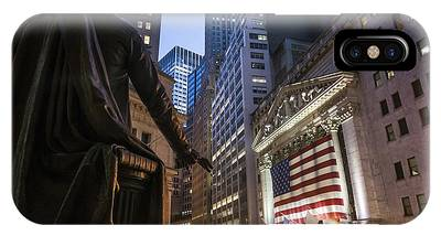 IPhone Case featuring the photograph New York Wall Street by Juergen Held