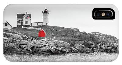 Nubble Lighthouse In Color And Black And White IPhone Case