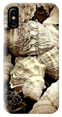 IPhone Case featuring the photograph On The Beach - Shells In Sepia by Patricia Strand