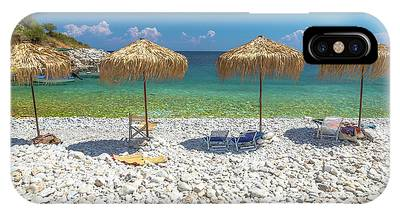 IPhone Case featuring the photograph Palapa Umbrellas by Benny Marty