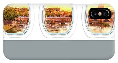 IPhone Case featuring the photograph Porthole Windows On Rome by Benny Marty