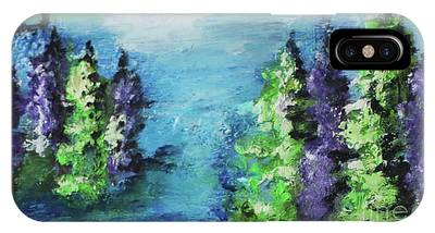 IPhone Case featuring the painting Purple And Green by Kim Nelson