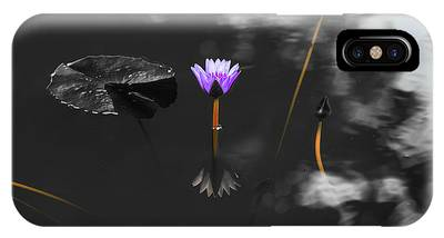 IPhone Case featuring the photograph Purple Lily In Black And White by Dennis Dame