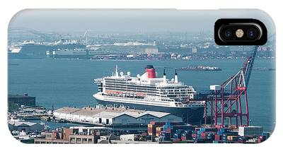 IPhone Case featuring the photograph Qe2 Dock And Stock by Steve Sahm