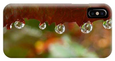 IPhone Case featuring the photograph Raindrops On A Red Leaf by Patricia Strand