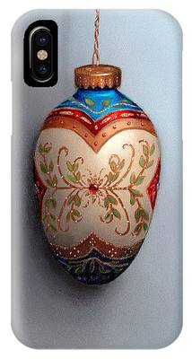 Red And Blue Filigree Egg Ornament IPhone Case
