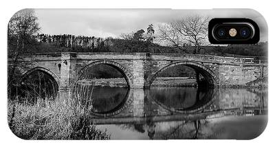 IPhone Case featuring the photograph Reflecting Oval Stone Bridge In Blanc And White by Dennis Dame