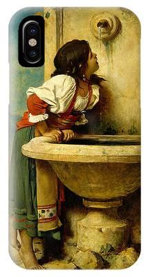 Roman Girl At A Fountain IPhone Case
