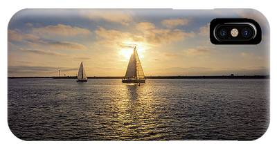 IPhone Case featuring the photograph Sailboats At Sunset by Andy Konieczny