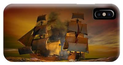 Tall Ship Digital Art iPhone Cases