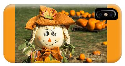 Smiling Scarecrow With Pumpkins IPhone Case