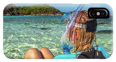 IPhone Case featuring the photograph Snorkeler Relaxing On Tropical Beach by Benny Marty