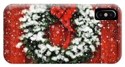 Snowy Christmas Wreath IPhone Case