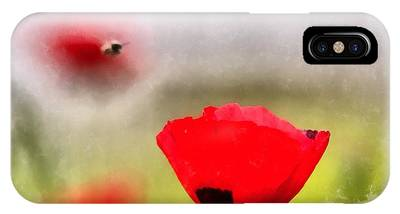 IPhone Case featuring the digital art Spring Flowering Poppies by Michael Goyberg