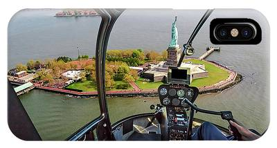 IPhone Case featuring the photograph Statue Of Liberty Helicopter by Benny Marty
