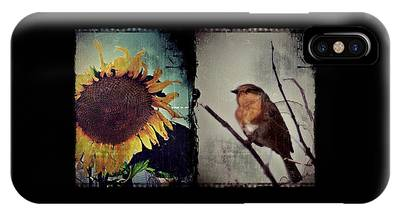 IPhone Case featuring the photograph Sunflower Bird Diptych by Patricia Strand