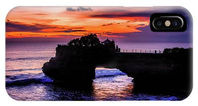 IPhone Case featuring the digital art Sunset At Tanah Lot by Kevin McClish