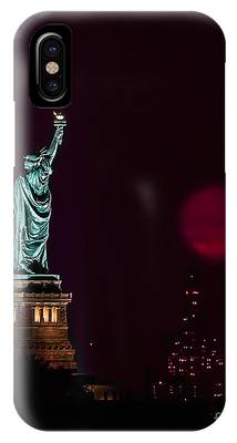 Super Moon Rising And The Statue Of Liberty IPhone Case