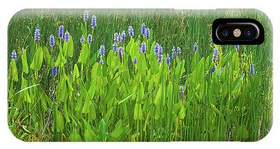 IPhone Case featuring the photograph Tall Purple And Blue Blooming Flowers by Dennis Dame