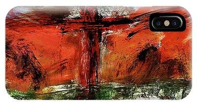 IPhone Case featuring the mixed media The Crucifixion #1 by Michael Lucarelli