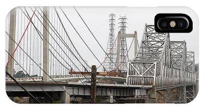 The Two Carquinez Bridges At Crockett And Vallejo California . Aka Alfred Zampa Memorial Bridge . 7d8919 IPhone Case