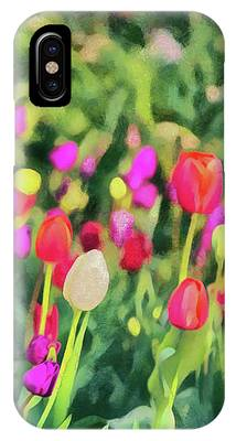Tulips. Monet Style Digital Painting. IPhone Case by Michael Goyberg