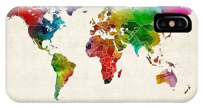 Watercolor Map Phone Cases