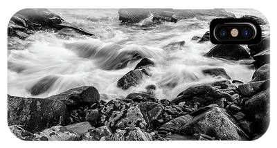 Waves Against A Rocky Shore In Bw IPhone Case