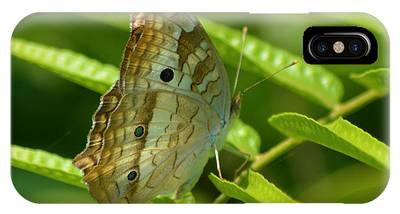 IPhone Case featuring the pyrography White Peacock Butterfly 2 by Sally Sperry