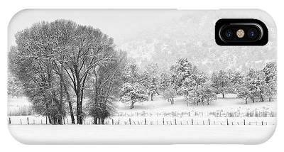 Winter Pasture In Black And White IPhone Case