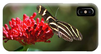 IPhone Case featuring the pyrography Zebra Heliconia Butterfly by Sally Sperry